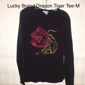 Lucky Brand Dragon&Tiger Long Sleeve Black Tee-M